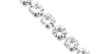 Strass chain ketting Crystal-silver 3mm - 1 Meter