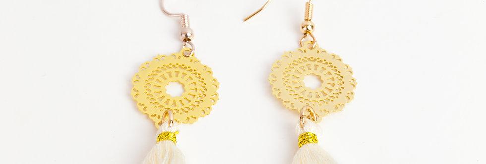 oorbellen met kwastje - goud/wit