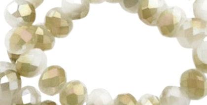 Facet kralen  6x4 mm Off white 100Stuks - Diamond coating