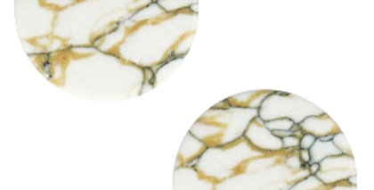 Cabochons basic plat stone look 12mm White-brown black - 4stuks