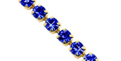 Strass chain ketting Cobalt blue-gold 3mm - 1 Meter