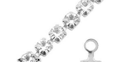 Eindkap voor strass chain ketting zilver 3mm - 10 stuks