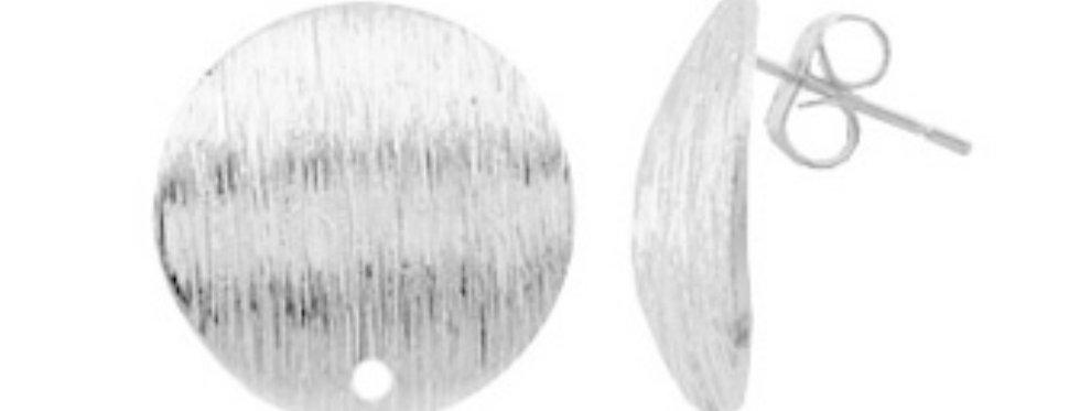 Metalen Earpins ca. 15mm kleur: Antiek Zilver - 2 Stuks