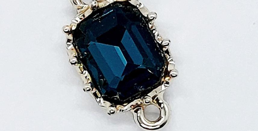 Tussenstuk van Crystal Glass 20x11mm kleur: blauw/zilver - 2 Stuks