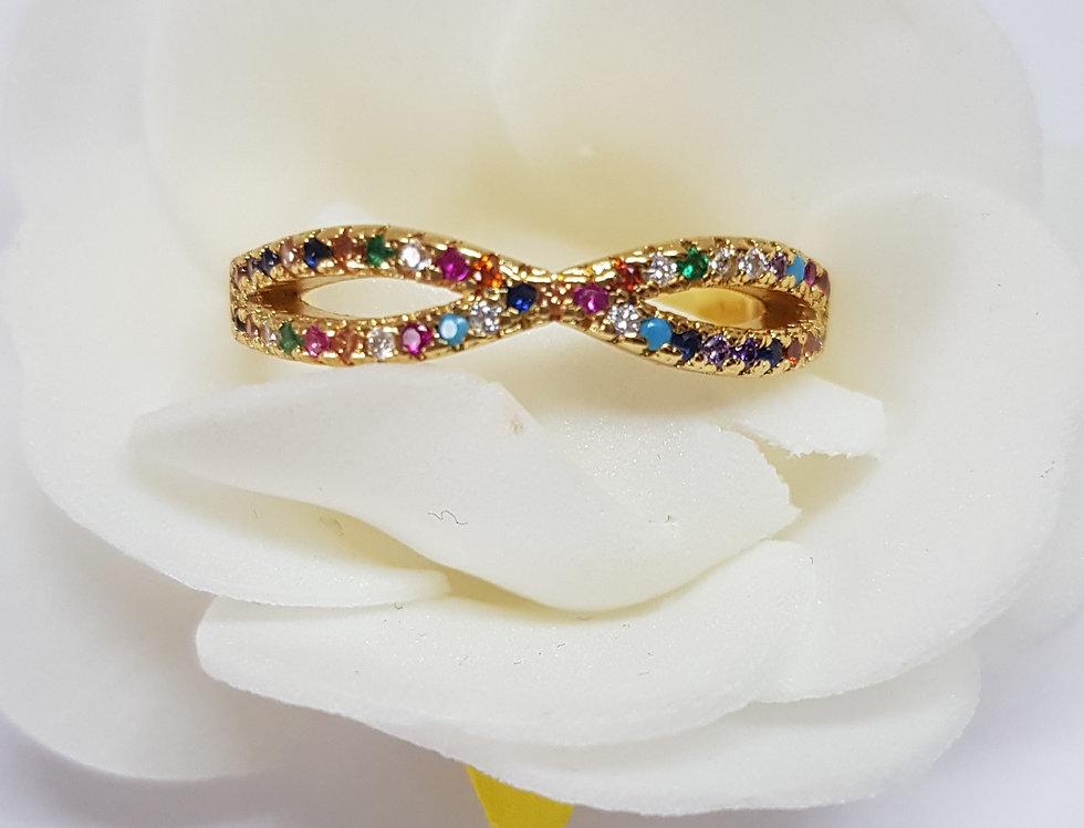 Stijlvolle ring met kleurige zirconia steentjes