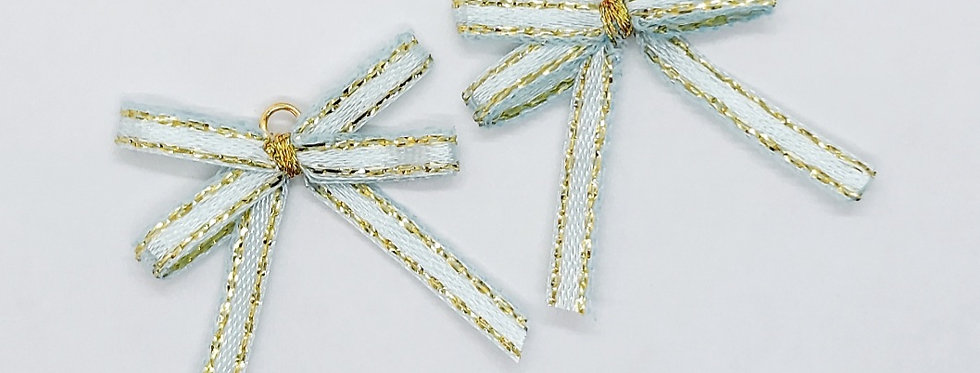 Handgemaakte strikjes ca. 3x2.5cm kleur:blauw/Goud - 2 Stuks