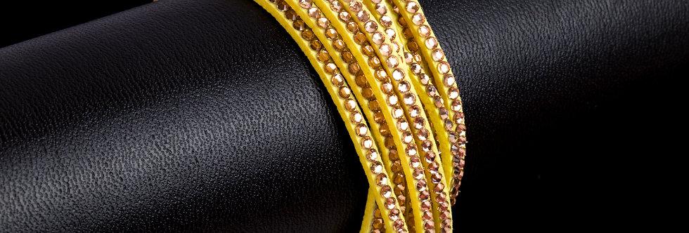 imitatie suède armband met strass steentjes - geel/coral