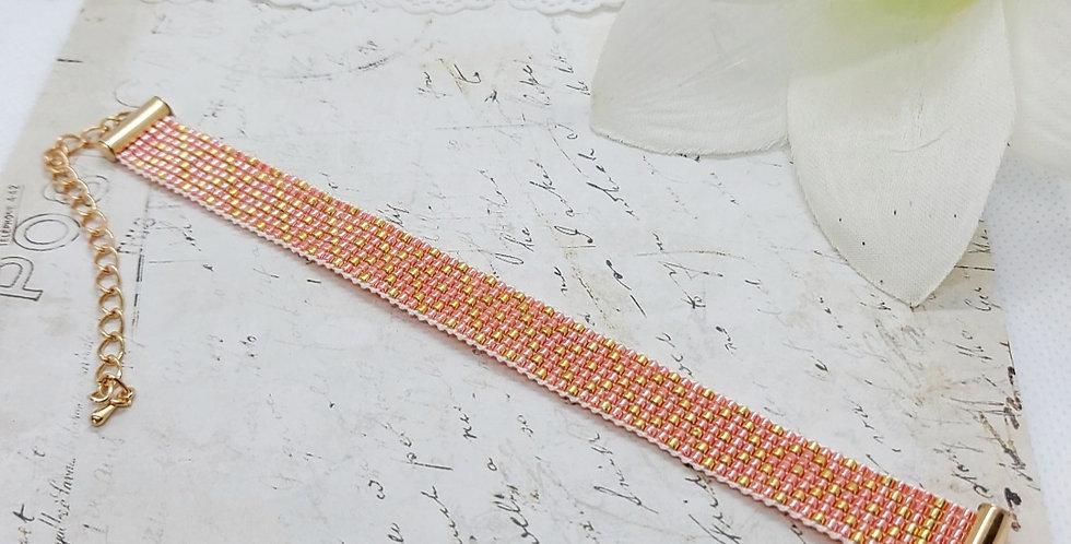 Handgemaakte armband met Miyuki kralen - Roze/Goud