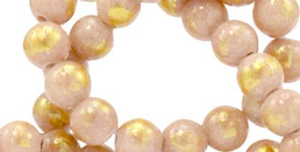 4 mm kralen natuursteen jade Vintage pink-gold - 92 Stuks