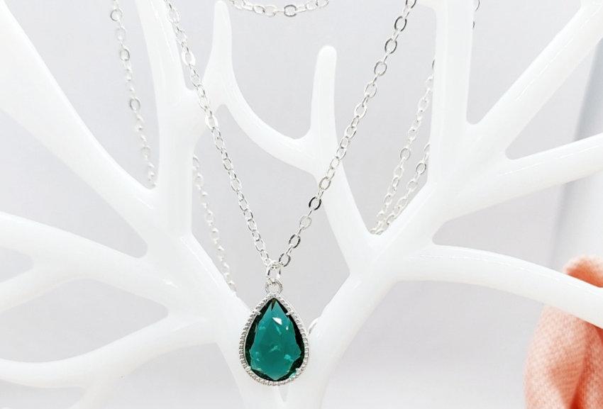 2 Laagse Halsketting met Hanger van Crystal Glass