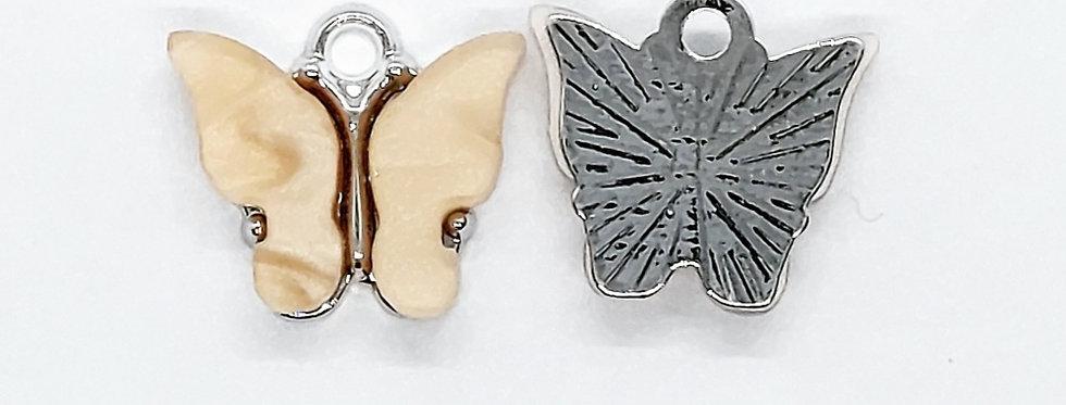 Vlinder Hangers ca. 13x13mm Beige/Zilver - 2 Stuks
