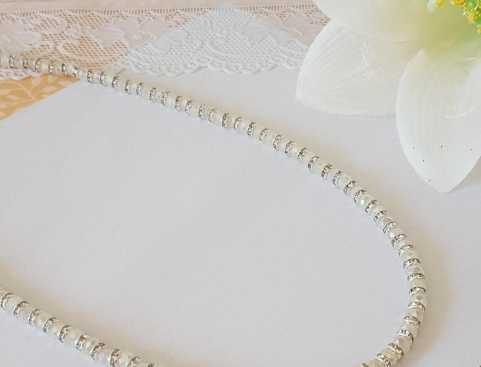 Handgemaakte halsketting met facet kralen en strass discs - Mint/Zilver