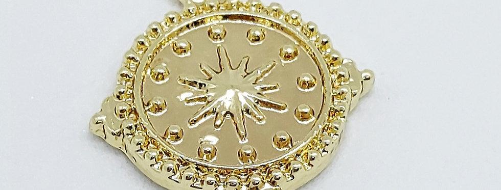 Goudkleurige Metalen Coin Bedels 13mm - prijs per stuk