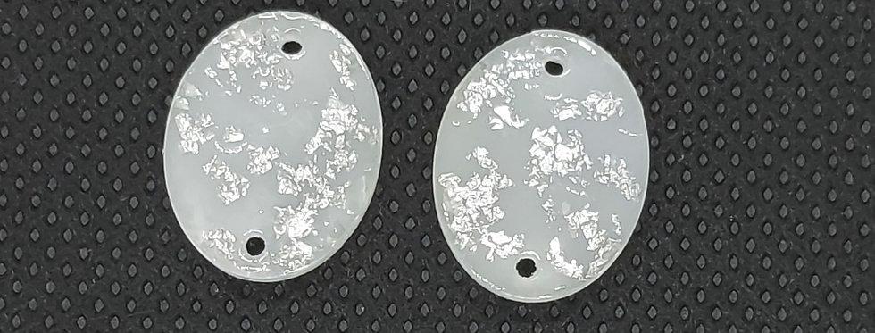 Resin Tussenstuk 17x13mm Wit/Zilver - 2 Stuks
