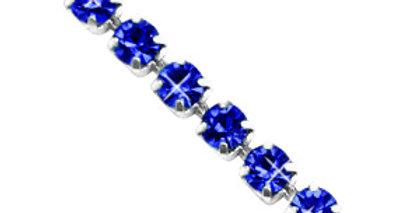 Strass chain ketting Cobalt blue-silver 3mm - 1 Meter