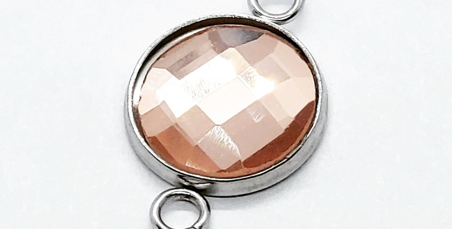 RVS Tussenstuk kleur: Antiek Zilver/Roze - 2 Stuks