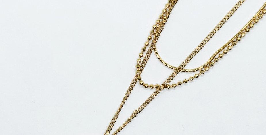 Stainless Steel 3 laagse Halsketting kleur: Goud