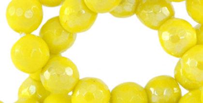 4 mm natuursteen kralen  rond facet geslepen yellow-AB coating - 90 Stuks
