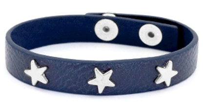 Armband met studs silver star Dark denim blue