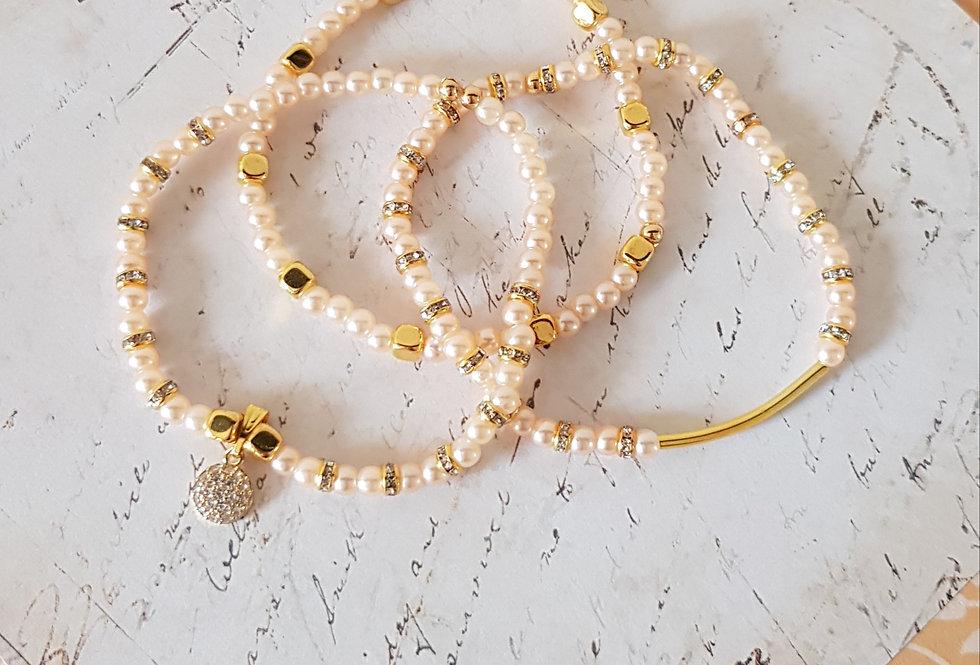 Handgemaakte armbanden met parels en strass steentjes - set van 3
