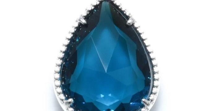 Hangers van Crystal Glass 12x18mm Blauw/Zilver - 2 Stuks