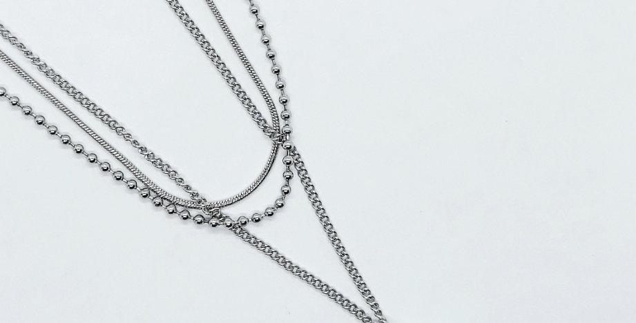 Stainless Steel 3 Laagse Halsketting kleur: Antiek Zilver