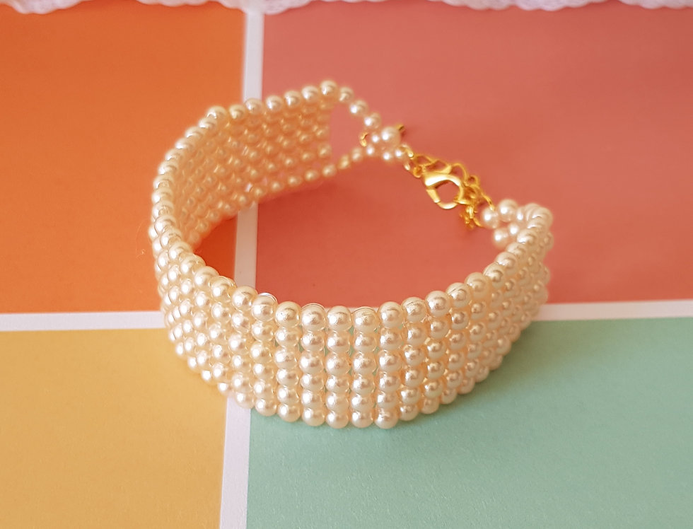 Handgemaakte armband met parels - Peach