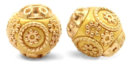 Kralen bohemian 14mm Mustard yellow-gold - 7stuks