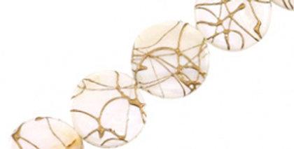 Schelp kralen 20 mm rond plat goldline Beige white - 20stuks