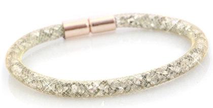 armband single Goud - silver crystal