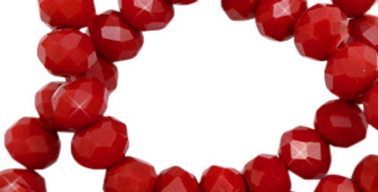 Facet kralen top quality disc 6x4 mm Maroon red shine coating 98Stuks