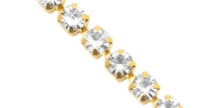 Strass chain ketting Crystal-gold 3mm - 1 Meter