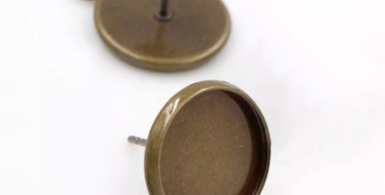 Settings voor 12mm Cabochons Loodvrij&Nikkelvrij - 2 Stuks