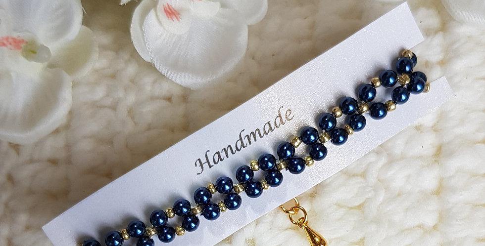 Handgemaakte armband met parels en kralen - Blauw/goud