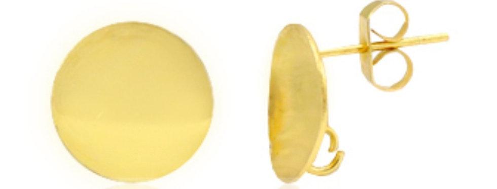Metalen Earpins ca. 12mm kleur: Goud - 2 Stuks