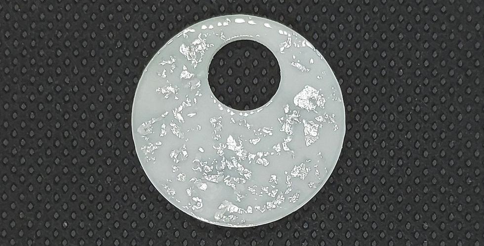 Resin Hangers 25x25mm kleur: Wit/Zilver - 2 Stuks