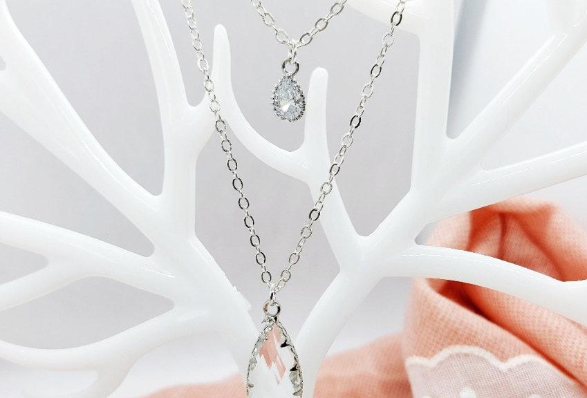 2 Laagse Halsketting met hangers van Crystal Glass