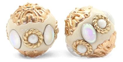 Kralen bohemian 16mm Beige-diamond coated white gold - 6stuks