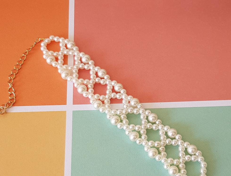 Handgemaakte armband met parels - Gebroken Wit