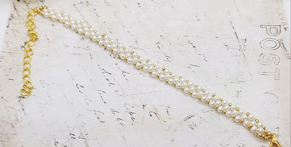 Handgemaakte armband met parels en kralen - Wit/Goud