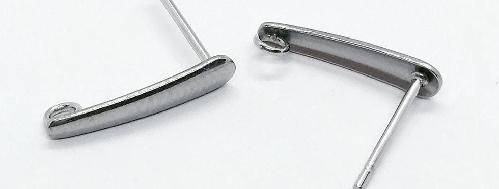 RVS Earpins 3x15mm kleur: Antiek Zilver - 2 Stuks