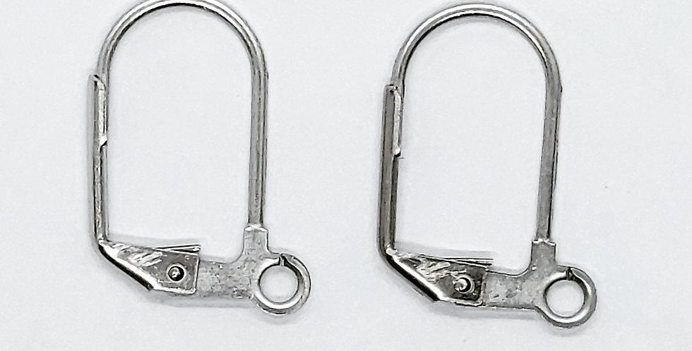 RVS Oorhangers 17x10mm kleur: Antiek Zilver - 4 Stuks
