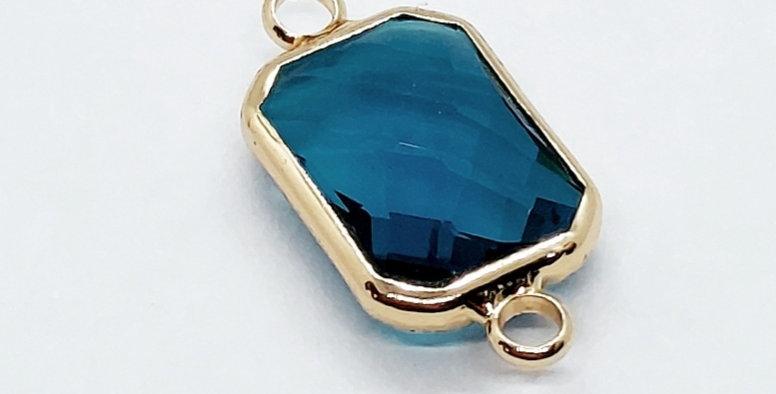 Crystal Glass Tussenstuk 10x14mm kleur: Goud/Blauw - 2 Stuks