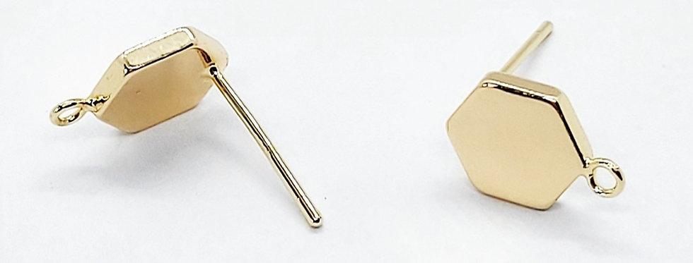 Gold Plated Earpins - 2 Stuks
