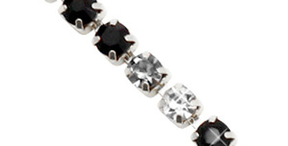 Strass chain ketting Black crystal-silver 3mm - 1 Meter