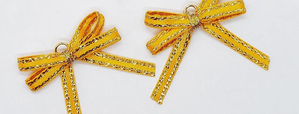 Handgemaakte strikjes ca. 3x2.5cm kleur: Oranje/Goud - 2 Stuks