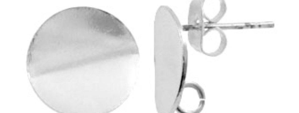 Metalen Earpins ca. 12mm kleur: Antiek Zilver - 2 Stuks