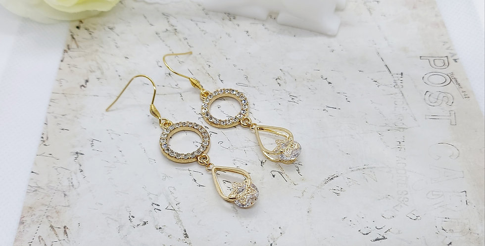 Mooie RVS handgemaakte oorbellen lengte: 5cm - Goud