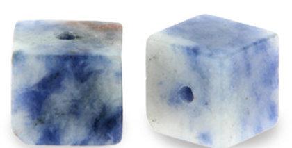 4 mm Natuursteen Kralen square Blue white - 45 Stuks