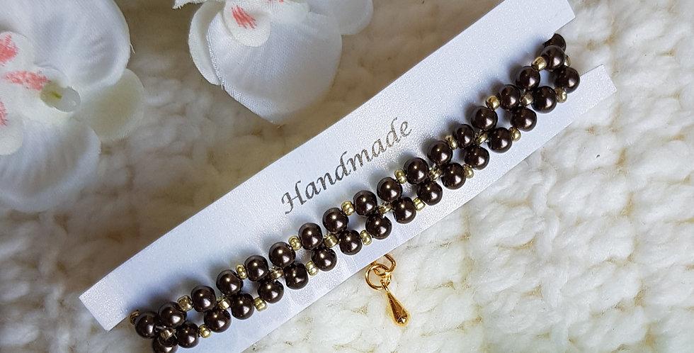 Handgemaakte armband met parels en kralen - Bruin/goud